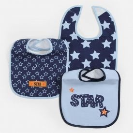 "Baby Essentials ""Star"" 3 Pack Assorted Bibs"