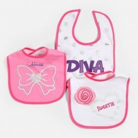 "Baby Essentials ""Diva"" 3 Pack Assorted Bibs"
