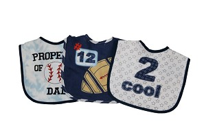 "Baby Essentials 'Property of Dad"" 3 Pack Assorted Bibs"