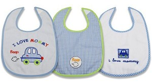 "Baby Essentials Bibs 3-Pack Set Boy "" I Love Mommy"""