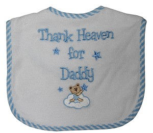 "Baby Essentials Bibs ""Thank Heaven for Daddy"" Blue"