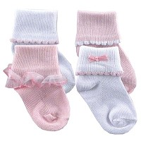 Luvable Friends Ribbed Cuff 4pk Socks Girl 6-18m