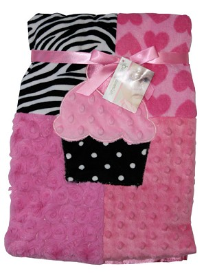 Baby Essentials� Plush Blanket Patchwork Cupcake
