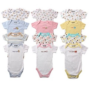 Baby Vision 4-Pack Pastel Bodysuits 3-6 Months