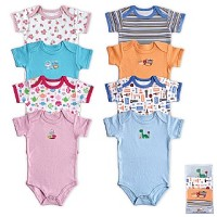 Luvable Friends Bright Bodysuits 6-9 Months, 4 Pack