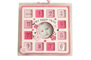 "Baby Essentials ""My First Year"" Picture Frame, Pink"
