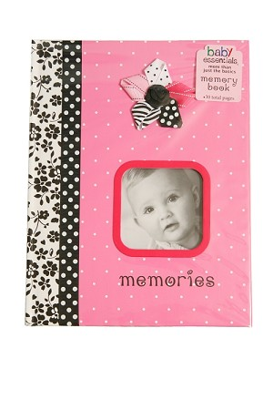 Baby Essentials Flower & Ribbons Memory Book, Pink