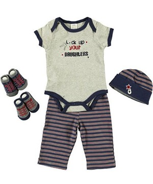 "Baby Essentials ""Lock Up Your Daughters"" 5 Piece Layette Set, Boys"