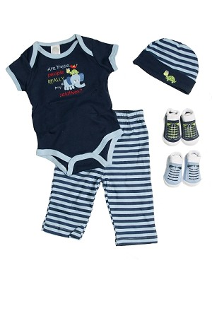 Baby Essentials Relatives 5-Pieces Layette Set Navy