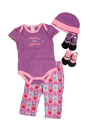 "Baby Essentials ""Pretty Like Mommy"" 5 Piece Layette Set"