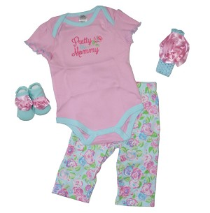 "Baby Essentials� 4-Pieces Layette Set ""Pretty Like Mommy"" Pink"