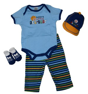 Baby Essentials� 4-Pieces Layette Set Daddy's Little All-Star Boy