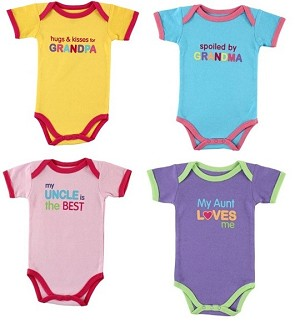 Luvable Friends� Baby Sayings Bodysuits 3-Pack Relatives Girl 0-3 Months