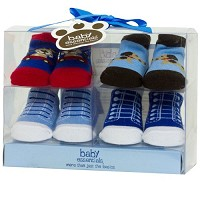 Baby Essentials Sneaker Booties 4-Pack Dog