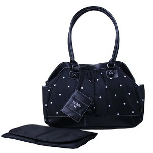 Baby Essentials Polka Dot Diaper Bag Black