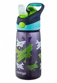 Contigo AutoSpout Kids Striker Water Bottle 14oz Navy with Planes Graphic