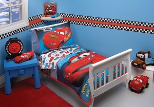 Disney Pixar Cars Taking the Race 4 Piece Toddler Bedding Set