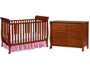 Delta 3 in 1 Sleigh Crib & 6 Drawer Eclipse Dresser, Spiced Cinnamon