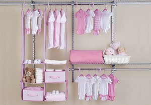 Delta 24-Piece Nursery Closet Organizer, Barely Pink
