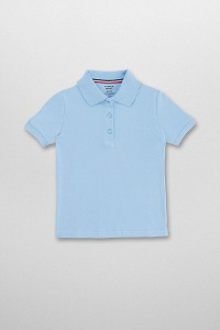 French Toast Short Sleeve Interlock Knit Polo with Picot Collar, Lt. Blue