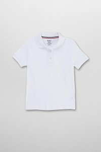 French Toast Short Sleeve Interlock Knit Polo with Picot Collar, White