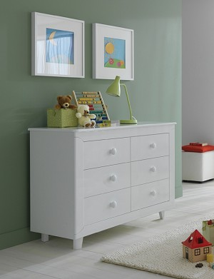 Pali Gala Double Drawer Dresser in White