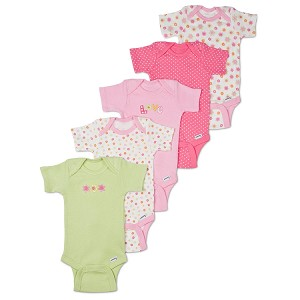 Gerber Short Sleeve Onesies� One Piece Underwear 0-3 months - Girls - 5 Pack