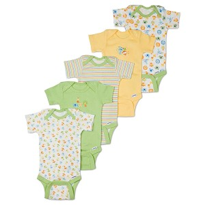 Gerber Short Sleeve Onesies� One Piece Underwear 6-9 months - Neutral - 5 Pack