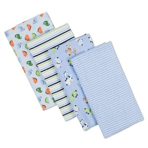 Gerber 4 Pack Brushed Flannel Burp Cloths, Boy