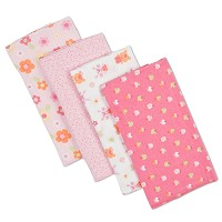 Gerber 4 Pack Brushed Flannel Burp Cloths Girl
