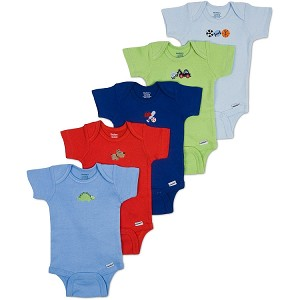 Gerber Short Sleeve Onesies One Piece Underwear 5 Pack 3-6 months - Boy