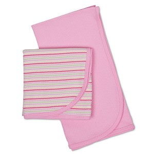 Gerber 2 Pack Thermal Receiving Blankets-Pink