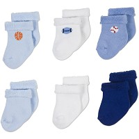 Gerber Baby Terry Socks - Boy 3-6 Months - 6 Pack