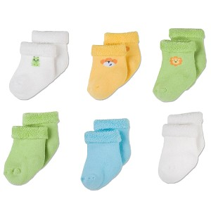 Gerber Baby Terry Socks - Neutral 3-6 Months - 6 Pack