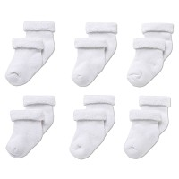 Gerber Baby Terry Socks - White 0-3 months - 6 Pairs