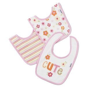 Gerber 2 Ply Terry Bibs - Girl - 3 Pack