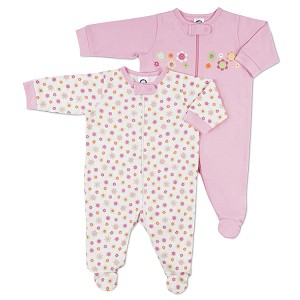 Gerber Zip Front Sleep 'N Play - Girls 3-6 Months - 2 Pack