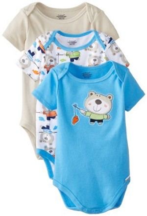 Lamaze Bodysuits  Boy Bear 12-Months 3-Pack