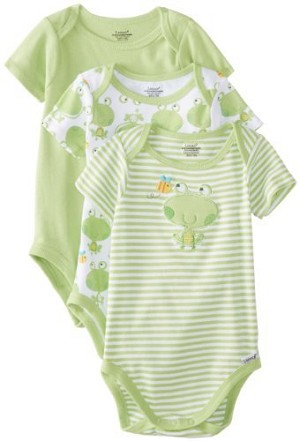 Lamaze Frog Bodysuit 0-3 Months Neutral 3-Pack
