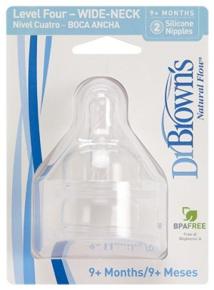 Dr. Brown's Natural Flow Level 4 Wide Neck Nipple - 2 Pack