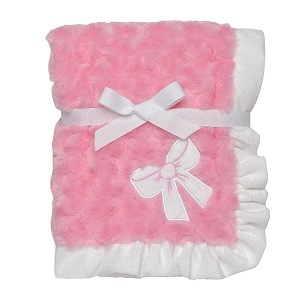 Baby Starters Pink Bow Plush Swirl Blanket