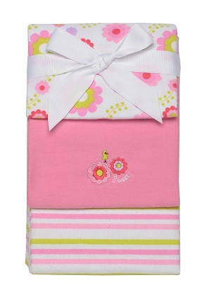 Baby Starters Sweet Floral and Stripe 3-pack Receiving Blankets Pink