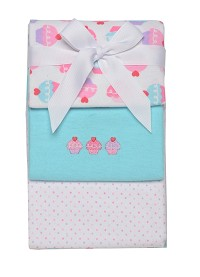 Baby Starters Cupcakes and Dot 3-pack Receiving Blankets