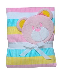 Baby Starters 2 Ply Printed Boa Coral Plush Blanket-Pink Bear