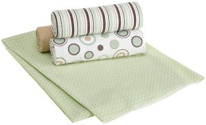 Kids Line 4 Piece Receiving Blanket Brown & Sage Circles by Carters