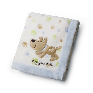 Kids Line Receiving Blanket Blue Dog Gone Cute