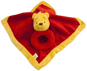 Disney Baby Pooh Security Blanket with Ring Rattle