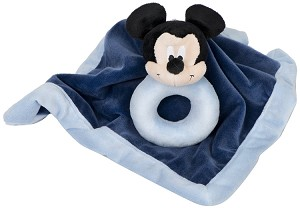 Disney Baby Mickey Security Blankets With Ring Rattle