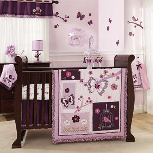 Lambs & Ivy 5 Piece Plumberry Crib Bedding Set