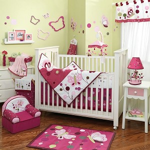 Lambs & Ivy Raspberry Swirl 5-Piece Bedding Crib Set